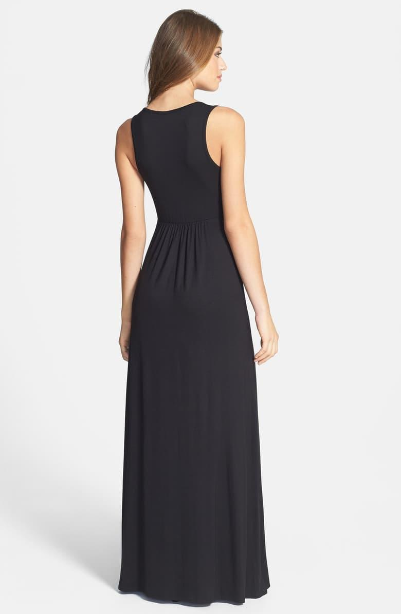 Loveappella V-neck Jersey Maxi Dress in black