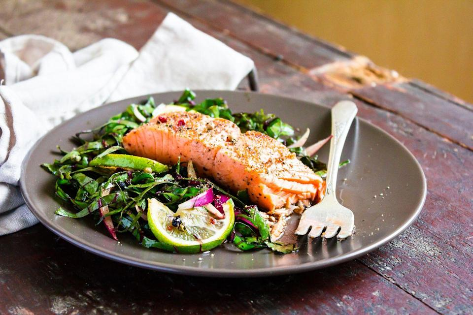 """<p><a href=""""https://www.nih.gov/news-events/nih-research-matters/mediterranean-diet-may-slow-development-alzheimers-disease#:~:text=Researchers%20found%20that%20eating%20a,type%20of%20age%2Drelated%20dementia."""" rel=""""nofollow noopener"""" target=""""_blank"""" data-ylk=""""slk:Studies"""" class=""""link rapid-noclick-resp"""">Studies</a> have shown that following a Mediterranean diet can also delay a progression of Alzheimer's compared to people who eat a standard Western diet. Research shows that people who eat a Western diet have more beta-amyloid deposits than those following a Mediterranean diet (beta-amyloid is a protein that is known to collect in the brains of people with Alzheimer's). The Mediterranean diet focuses on a lot of vegetables, fruits, healthy fats, beans, and omega-3s. </p><p>The MIND Diet is a hybrid Mediterranean-DASH diet that is associated with <a href=""""https://www.ncbi.nlm.nih.gov/pmc/articles/PMC4532650/"""" rel=""""nofollow noopener"""" target=""""_blank"""" data-ylk=""""slk:slower cognitive decline"""" class=""""link rapid-noclick-resp"""">slower cognitive decline</a>. Foods emphasized include whole grains, berries, green, leafy vegetables, other vegetables, olive oil, poultry and fish. </p>"""