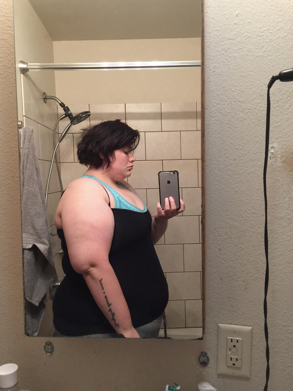 Back in 2016 Kristen Bobo, 30, was a size 28 and had a binge eating disorder, spending most of her days gorging on junk foods.