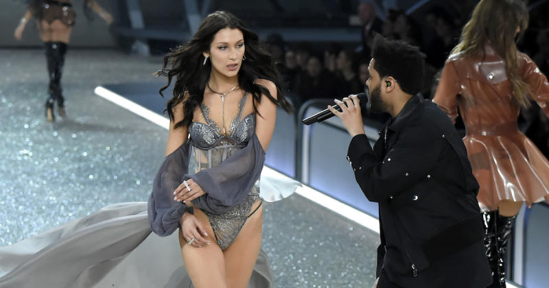 The Weeknd serenaded Bella Hadid at 2016's Victoria's Secret Fashion Show (Copyright: Getty/Kristy Sparow)