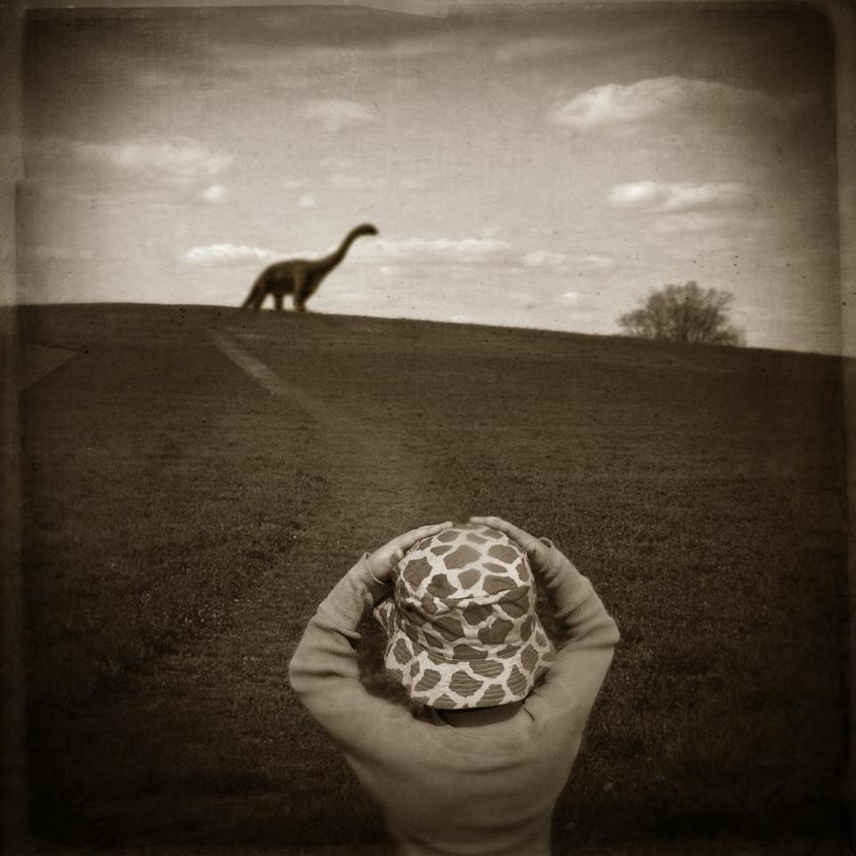 """<div class=""""caption-credit""""> Photo by: David Niles</div><b>Nate and the Dinosaur</b>"""