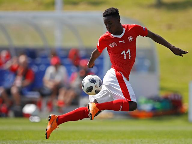Soccer Football - UEFA European Under-17 Championship - Group A - Switzerland v Israel - St George's Park Stadium, Burton Upon Trent, Britain - May 7, 2018 Switzerland's Felix Khonde Mambimbi in action Action Images via Reuters/Carl Recine