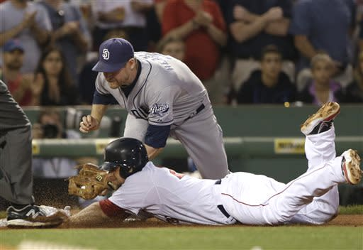San Diego Padres third baseman Chase Headley puts the tag on Boston Red Sox's Brandon Snyder who is out trying to stretch a double into a triple during the fourth inning of an interleague baseball game at Fenway Park in Boston, Tuesday, July 2, 2013. Three runs scored on Snyder's double. (AP Photo/Elise Amendola)