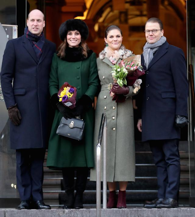 Britain's Prince William, Catherine, Duchess of Cambridge and Sweden's Prince Daniel and Crown Princess Victoria walk from the Royal Palace to the Nobel Museum in Stockholm January 30, 2018. REUTERS/Chris Jackson/Pool