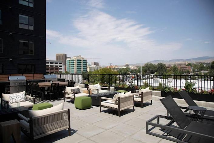 Jules on 3rd, a new apartment building in at 3rd Street and Myrtle Street in downtown Boise has an amenities deck that includes a small swimming pool, lounge areas, cooking space as well as fitness areas.