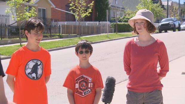 Langevin students Zach Helfenbaum (Grade 8), Seth Helfenbaum (Grade 5) and  Joy McCullagh (Grade 8), have been advocating to the Calgary Board of Education for years to have the name of their school changed.