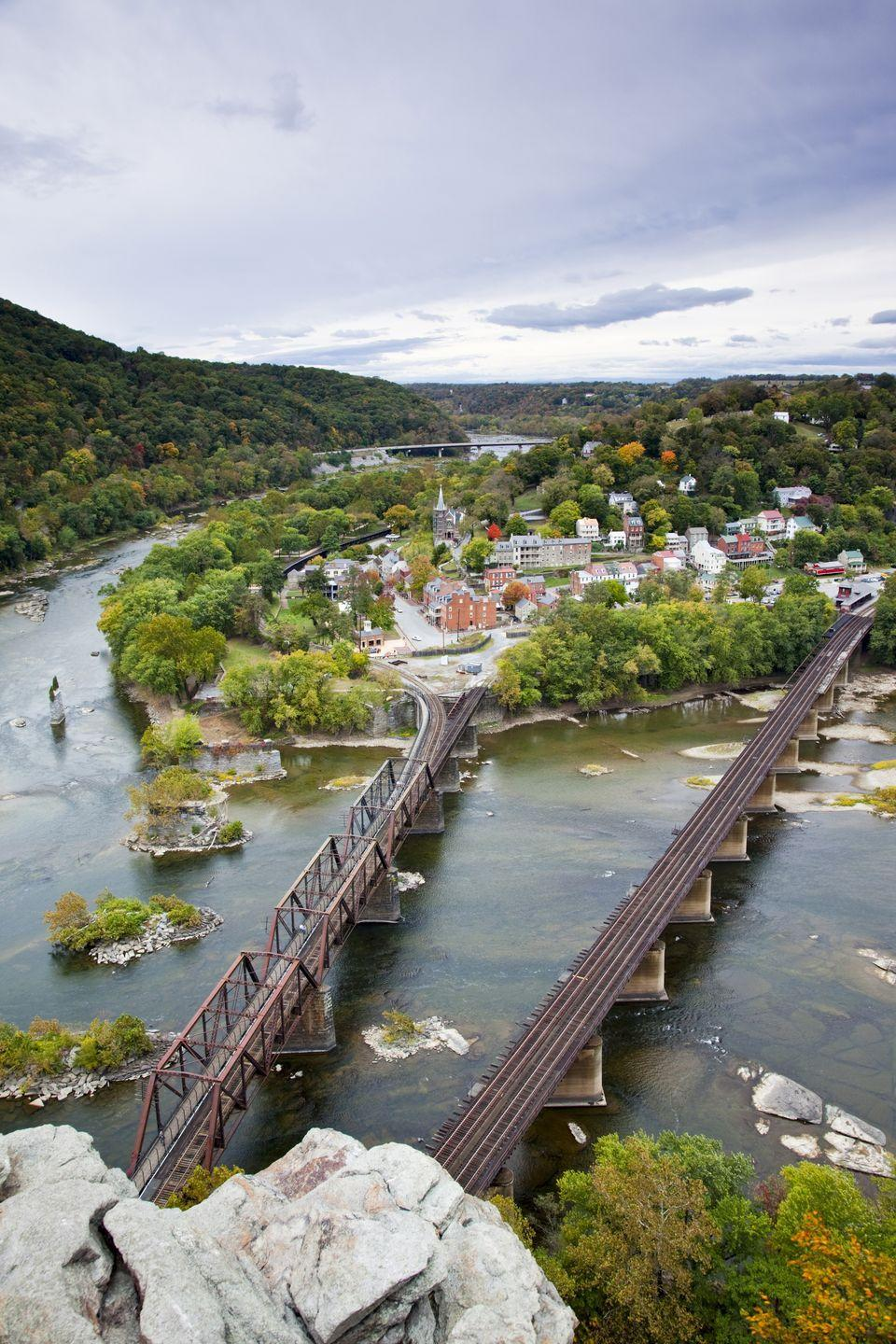 """<p><strong>Where: </strong>Harpers Ferry, West Virginia</p><p><strong>Why We Love It: </strong>When Thomas Jefferson visited in 1783 he called this small town where the Potomac and Shenandoah rivers meet """"perhaps one of the most stupendous scenes in nature.""""</p>"""