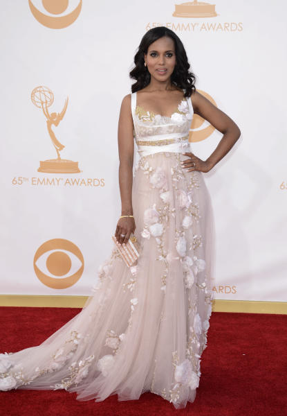 "FILE - This sept. 22, 2013 file photo shows actress Kerry Washington at the 65th Primetime Emmy Awards at Nokia Theatre in Los Angeles. An ""it"" girl of the Hollywood-fashion nexus becomes even hotter. TV's ""Scandal"" actress Kerry Washington made glamorous appearances at New York Fashion Week, where she judged ""Project Runway"" in a pretty Stella McCartney floral number, and at the Emmys, in an eye-catching Marchesa gown. (Photo by Dan Steinberg/Invision/AP, File)"