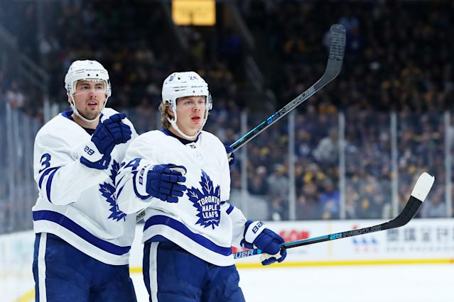 Kasperi Kapanen has looked good when with Alexander Kerfoot. (Photo by Maddie Meyer/Getty Images)