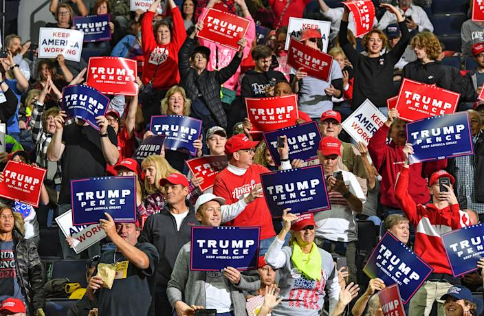 The crowd gets warmed up before the start of the rally for Donald J. Trump Thursday, Oct. 10, 2019, at the Target Center in Minneapolis.