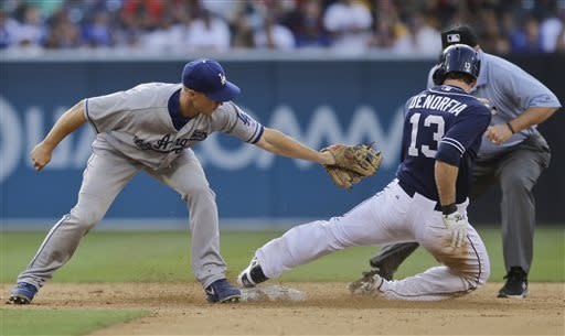 San Diego Padres' Chris Denorfia leans away from the tag of Los Angeles Dodgers second baseman Mark Ellis in the eighth inning of a baseball game in San Diego, Saturday, June 22, 2013. Denorfia was safe. (AP Photo/Lenny Ignelzi)