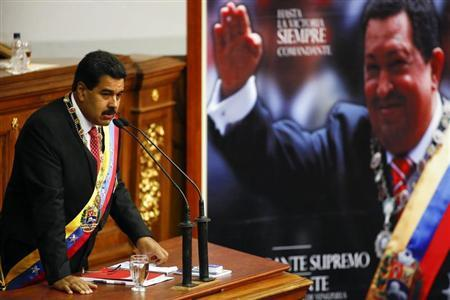 Venezuelan President Nicolas Maduro speaks at the National Assembly in Caracas