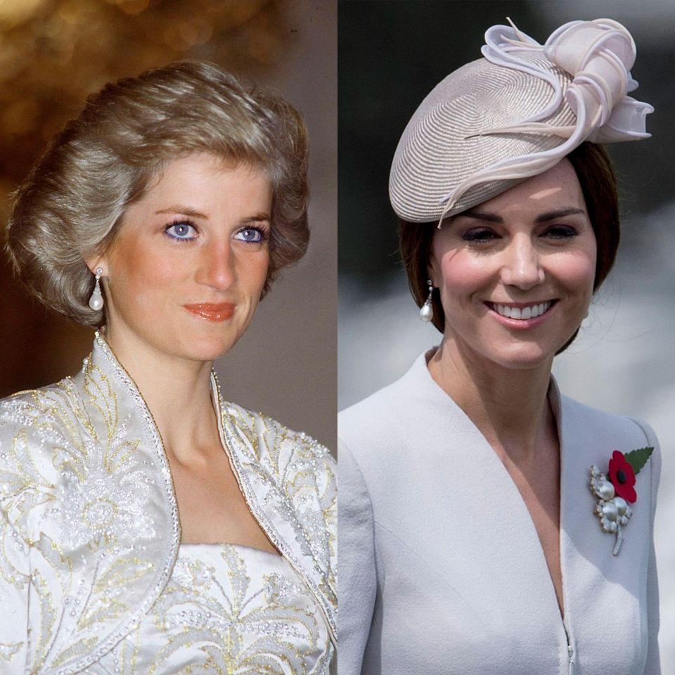 <p>Collingwood jewelers gave Princess Diana these pearl earrings as a wedding gift. She wore them for the first time a month before her nuptials with Prince Charles, and continued to sport them frequently thereafter. Kate Middleton first donned the earrings in 2017 for a Spanish state banquet.</p>