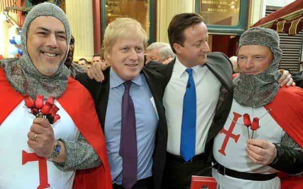 Leader of the Conservative Party David Cameron and Mayor of London Boris Johnson celebrate St George's day in Leadenhall Market in the City of London  - Credit: PA