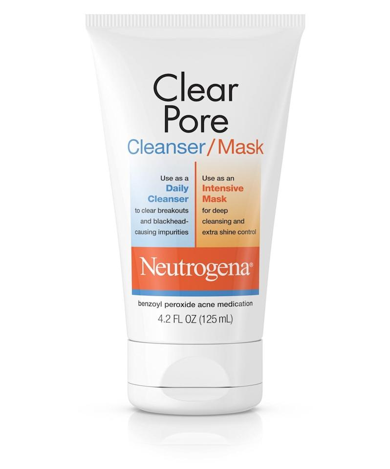 """<p>If acne tends to go hand-in-hand with your holiday merriment (thank you sweets, alcohol, and sub-par sleep), this two-in-one cleanser and mask just might be your cure-all. """"The active ingredient in this is salicylic acid, which helps to clear pores, remove dead skin, and dry up active pimples,"""" says Morgan Rabach, MD, a board certified dermatologist and co-founder of <a href=""""https://www.instagram.com/LMMedical.NYC/?hl=en"""" target=""""_blank"""">LM Medical</a>. It can be used as a cleanser or left on as a mask for more potency.</p> <p><strong>To buy:</strong> $9; <a href=""""http://www.anrdoezrs.net/links/7876406/type/dlg/sid/RS%2CTheBestDrugstoreFaceMasks%2Crsylvest%2CSKI%2CIMA%2C689741%2C202001%2CI/https://www.walgreens.com/store/c/neutrogena-clear-pore-facial-cleanser/mask/ID=prod379879-product"""" target=""""_blank"""">walgreens.com</a>.</p>"""