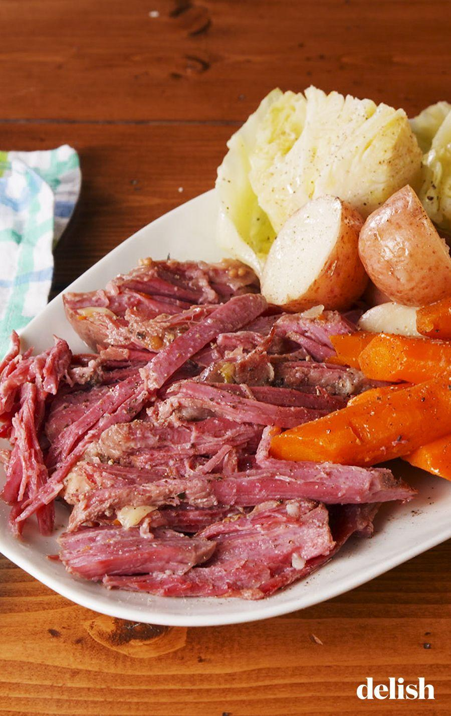 """<p>Skip the oven and opt for the Instant Pot—it'll whip up a perfectly tender and juicy corned beef.</p><p>Get the recipe from <a href=""""https://www.delish.com/cooking/recipe-ideas/a26243431/instant-pot-corned-beef-recipe/"""" rel=""""nofollow noopener"""" target=""""_blank"""" data-ylk=""""slk:Delish"""" class=""""link rapid-noclick-resp"""">Delish</a>.</p>"""