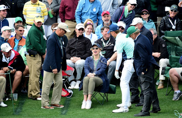 Jordan Spieth's ball ended up in a lady's lap. (Getty)