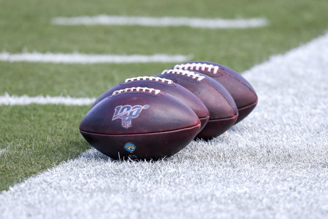 "JACKSONVILLE, FL - OCTOBER 13: Wilson ""The Duke"" official game day footballs with the NFL 100 years logo is shown during warm-ups before a game between the <a class=""link rapid-noclick-resp"" href=""/nfl/teams/jacksonville/"" data-ylk=""slk:Jacksonville Jaguars"">Jacksonville Jaguars</a> and the <a class=""link rapid-noclick-resp"" href=""/nfl/teams/new-orleans/"" data-ylk=""slk:New Orleans Saints"">New Orleans Saints</a> at TIAA Bank Field on October 13, 2019 in Jacksonville, Florida. The <a class=""link rapid-noclick-resp"" href=""/nfl/teams/new-orleans/"" data-ylk=""slk:Saints"">Saints</a> defeated the Jaguars 13-6. (Photo by Don Juan Moore/Getty Images)"