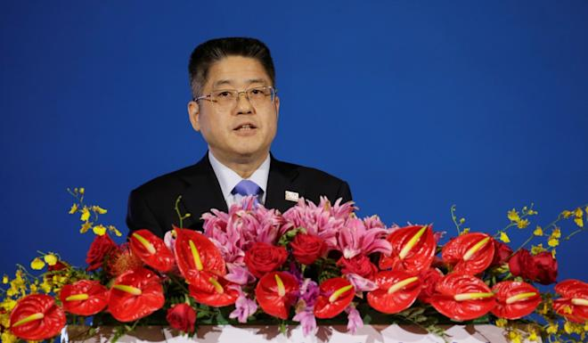 China's foreign vice-minister Le Yucheng speaks at the Xiangshan Forum in Beijing. Photo: Reuters