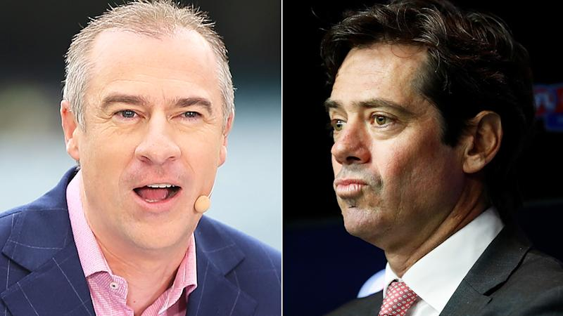 A split 50-50 image shows sports broadcaster Gerard Whateley the left, and AFL CEO Gillon McLachlan on the right.