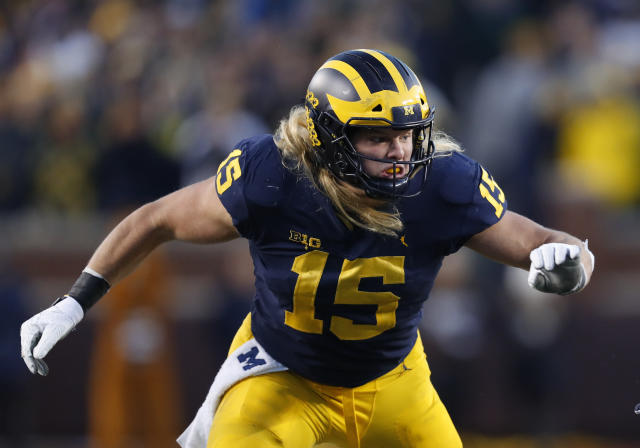 Michigan defensive lineman Chase Winovich has 12.5 sacks in the past two seasons. (AP)