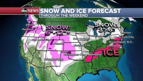 PHOTO: The Great Lakes and parts of the Northeast could see up to a half a foot of snow through the weekend.  (ABC News)