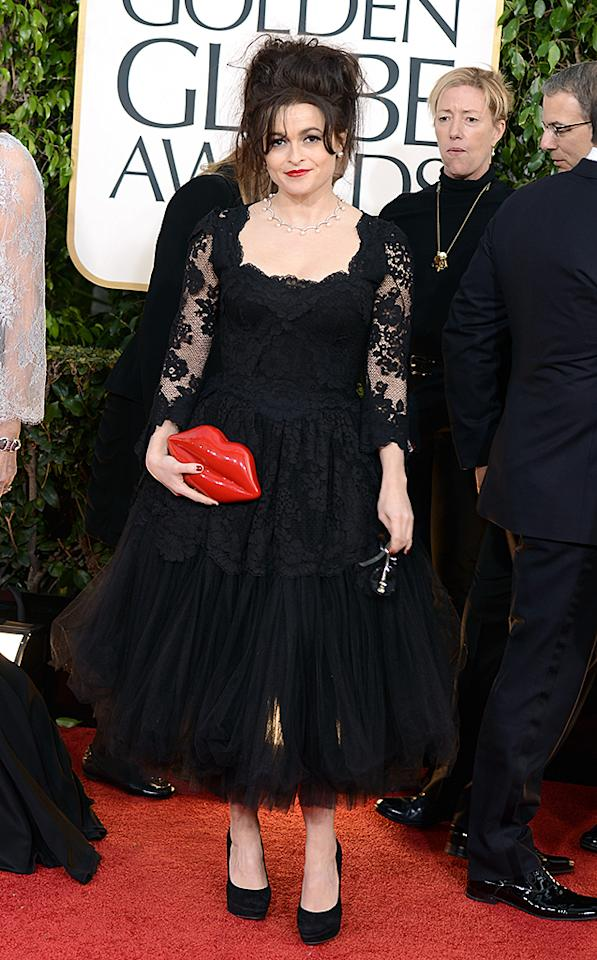 BEVERLY HILLS, CA - JANUARY 13:  Actress Helena Bonham Carter arrives at the 70th Annual Golden Globe Awards held at The Beverly Hilton Hotel on January 13, 2013 in Beverly Hills, California.  (Photo by Jason Merritt/Getty Images)