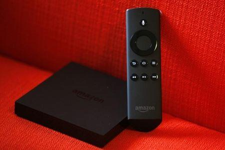 Amazon Fire TV set pictured after a news conference in New York