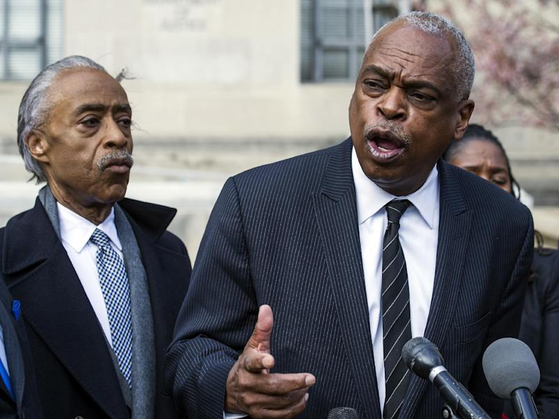 Rev. Al Sharpton listen at left as Wade Henderson, president of the Leadership Conference on Civil and Human Rights, speaks during a news conference outside of the Justice Department in Washington, Tuesday, March 7, 2017, following their meeting with Attorney General Jeff Sessions. (AP Photo/Cliff Owen)