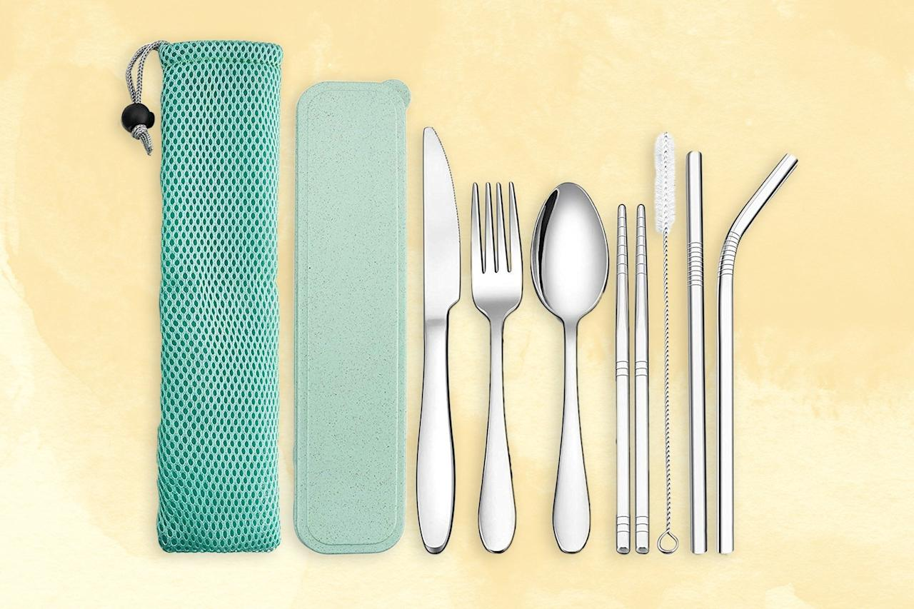 """<p>The regular travelers in your life are eating a lot of meals on the road. And as sustainability in travel becomes ever more pressing, people are going beyond reusable straws and looking to other <a href=""""https://www.cntraveler.com/story/travel-companies-and-places-phasing-out-single-use-plastics?mbid=synd_yahoo_rss"""" target=""""_blank"""">single-use plastics</a> like utensils. Set them up with this kit that has it all—two styles of reusable straw (with a cleaning pipe), a fork, knife, spoon, and chopsticks. The tools are made of stainless steel, and their pouch is flat and soft, making them easy to carry.</p> <p><strong>Buy Now:</strong> <a href=""""https://amzn.to/2RDjz3t"""" rel=""""nofollow"""" target=""""_blank""""><strong>$9, amazon.com</strong></a></p>"""
