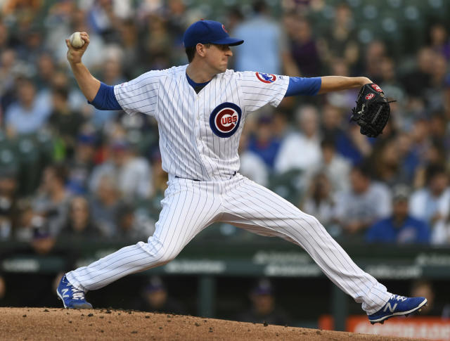 Chicago Cubs starter Kyle Hendricks delivers a pitch during the first inning of a baseball game against the Colorado Rockies Tuesday, June 4, 2019, in Chicago. (AP Photo/Paul Beaty)