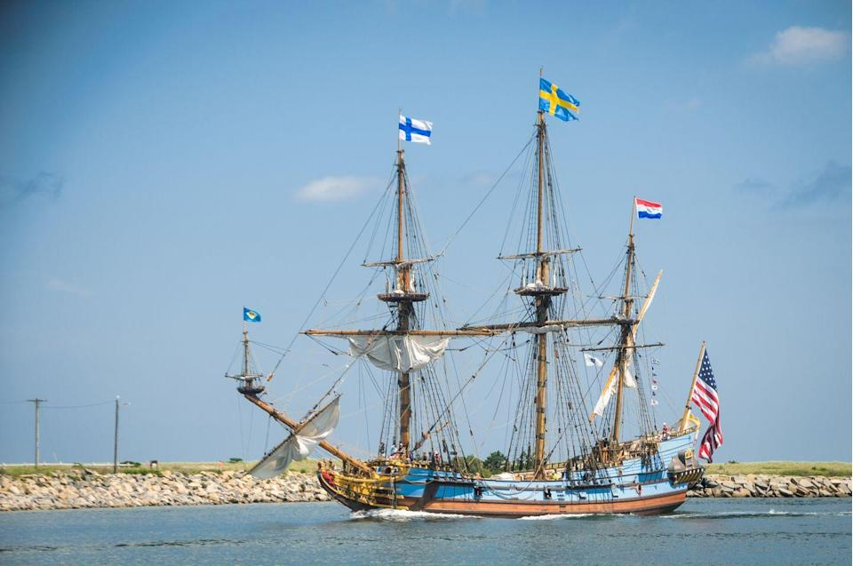 "<p><strong>State Tall Ship: Kalamar Nyckel</strong> </p><p>This sailing vessel was built in Sweden, but famed for carrying settlers to North America in 1638 to establish new Sweden. When the ship isn't at sea, <a href=""https://www.kalmarnyckel.org/dy.asp?p=205"" rel=""nofollow noopener"" target=""_blank"" data-ylk=""slk:it is docked near Wilmington"" class=""link rapid-noclick-resp"">it is docked near Wilmington</a>. </p>"