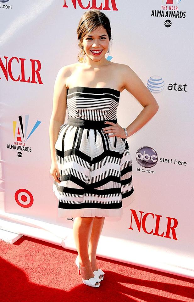 """America Ferrera was cute as can be in the striped frock she wore to the 2008 Alma Awards held at the Pasadena Civic Auditorium. The """"Ugly Betty"""" star was named entertainer of the year. Gregg DeGuire/<a href=""""http://www.wireimage.com"""" target=""""new"""">WireImage.com</a> - August 17, 2008"""