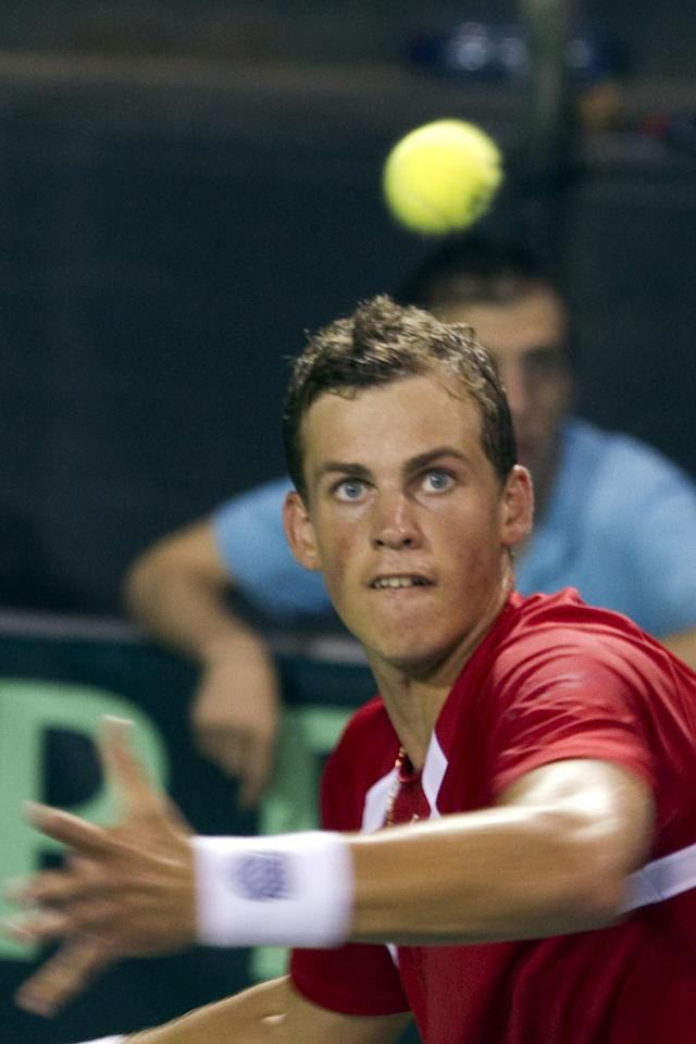 Canadian tennis player Vasek Pospisil returns the ball to Israel's Amir Weintraub during their Davis Cup World Group play-off tennis match on September 18, 2011 at the Canada stadium in Ramat Hasharon, north of Tel Aviv. Pospisil won the final match 2-6, 6-7(3), 4-6. AFP PHOTO/JACK GUEZ (Photo credit should read JACK GUEZ/AFP/Getty Images)