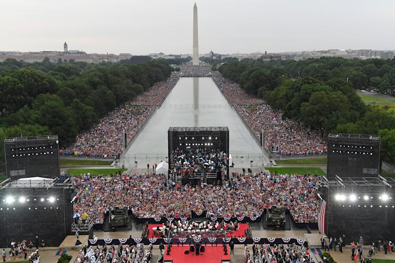 President Donald Trump speaks during an Independence Day celebration in front of the Lincoln Memorial in Washington, Thursday, July 4, 2019. The Washington Monument and the reflecting pool are in the background.