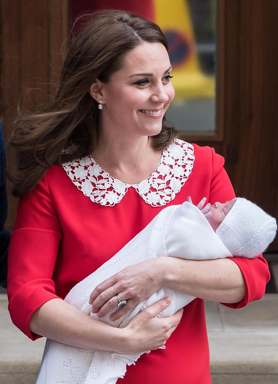 Prince Louis made his public debut just hours after his birth on April 23. (Photo: Samir Hussein/WireImage)