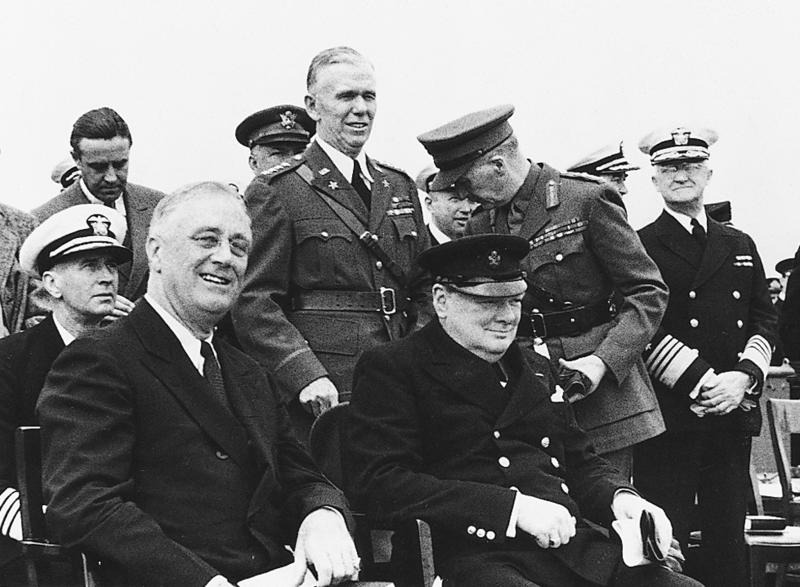 "UNDATED PUBLICITY PHOTOGRAPH - The late Winston Churchill, prime Minister of Great Britain, and the late U.S. President Franklin D. Roosevelt (L) are shown in this undated photograph. A Public Broadcasting Service documentary "" Finest Hour"" will be telecast July 10 and 17 recreating the Battle of Britain."
