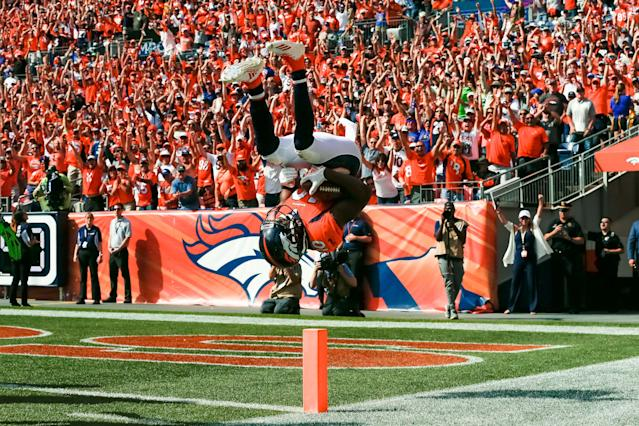 <p>Denver Broncos wide receiver Emmanuel Sanders (10) flips into the end zone after scoring a touchdown in the second quarter against the Seattle Seahawks at Broncos Stadium at Mile High. Mandatory Credit: Isaiah J. Downing-USA TODAY Sports </p>