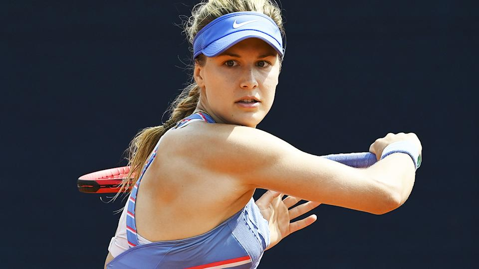 Eugenie Bouchard, pictured here in action at the WTA Prague Open.