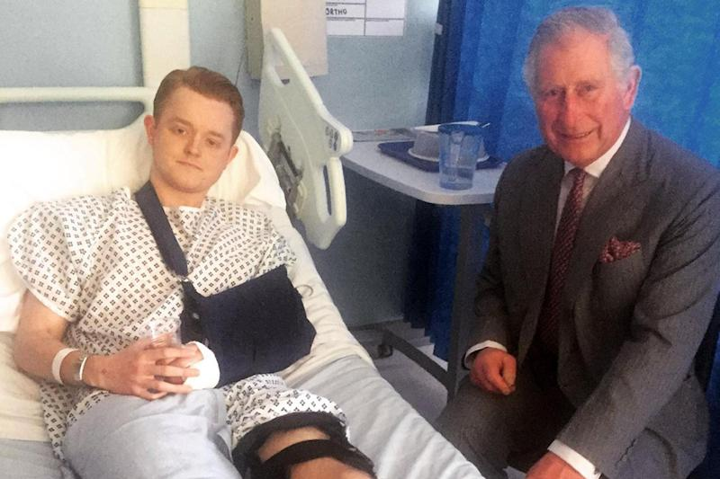Visit: The Prince of Wales meeting Travis Frain who was injured in the Westminster terrorist attack: PA