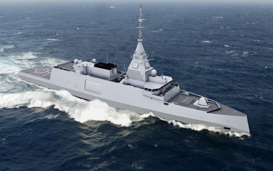 Artist's impression of a proposed new-generation 4000-tonne digital frigate called the Belharra from Naval Group - AFP