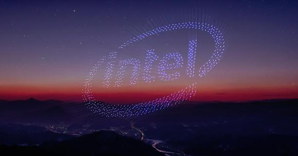Drones making an Intel logo in the sky.
