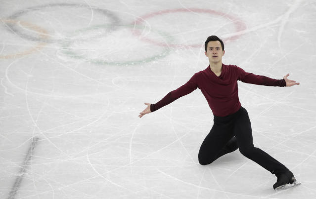FILE - In this Feb. 17, 2018 file photo, Patrick Chan, of Canada, performs during the men's free figure skating final in the Gangneung Ice Arena at the 2018 Winter Olympics in Gangneung, South Korea. Canada won the most medals in figure skating with four at the 2018 Winter Games. But with veteran ice dancers and gold medalists Tessa Virtue and Scott Moir as well as pairs bronze medalists Meagan Duhamel and Eric Radford, and 10-time national champion Chan all retiring, Canada will need to find a new wave of skaters to keep them on top as they look ahead to the 2022 Games. (AP Photo/Julie Jacobson, File)