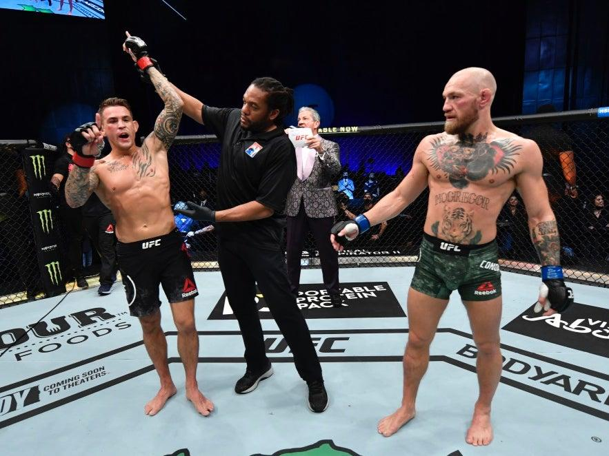 Dustin Poirier celebrates beating Conor McGregor (Zuffa LLC via Getty Images)