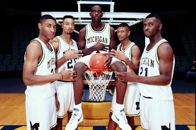 In 1991, a group of five freshmen shook college hoops to its core. Pictured are Michigan's Fab Five from left, Jimmy King, Juwan Howard, Chris Webber, Jalen Rose and Ray Jackson. (AP)