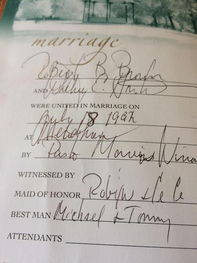 Whitney Houston's Bible has milestones recorded in it, including her marriage to Bobby Brown. (Photo: Moments in Time)