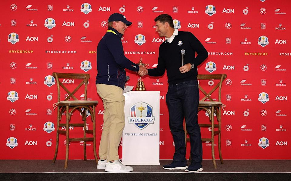 U.S. Ryder Cup captain Steve Stricker and European Ryder Cup captain Padraig Harrington speak to the media prior to the start of the Ryder Cup at Whistling Straits on September 20, 2021 in Kohler, Wisconsin. - GETTY IMAGES