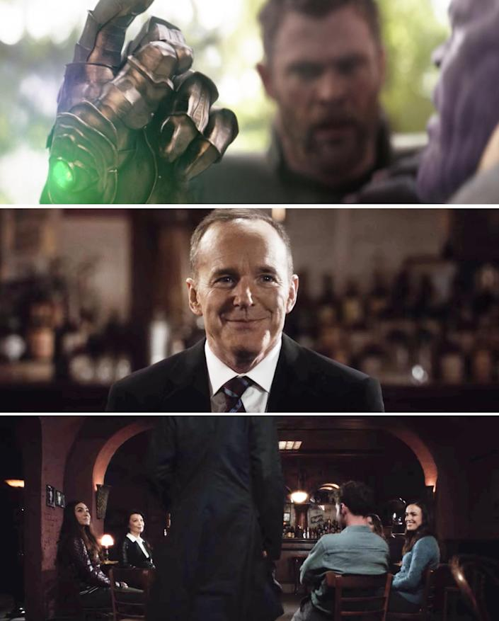 Thanos snapping his fingers vs. Coulson and his team talking
