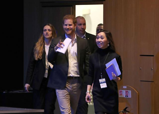 The Duke of Sussex looked relaxed as he headed into the conference centre. (Press Association)