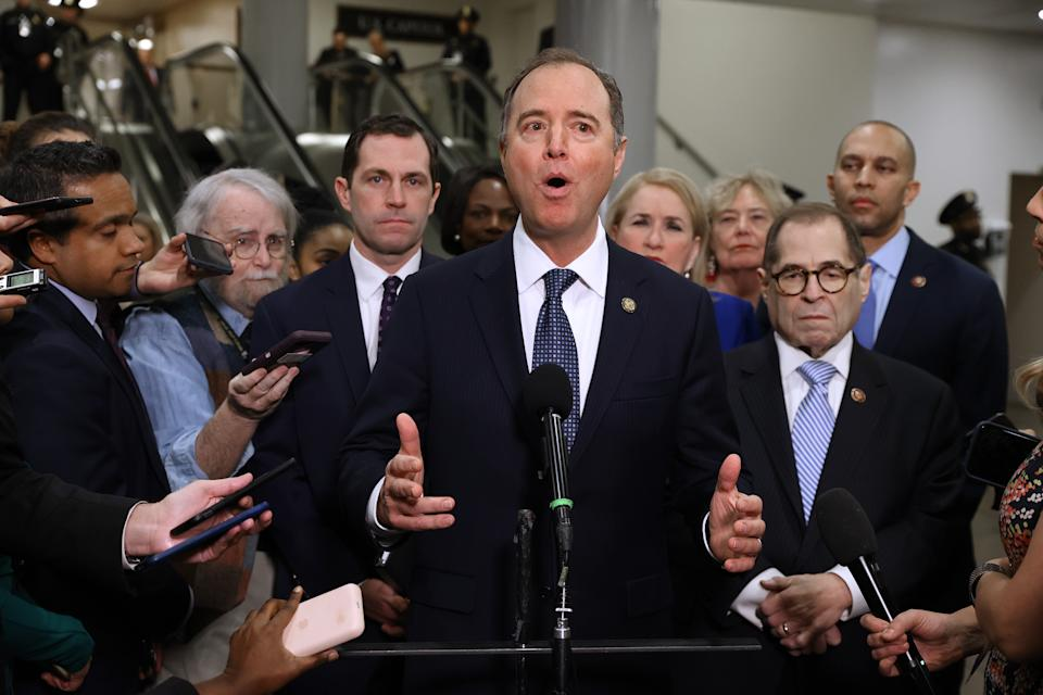 Adam Schiff with other impeachment managers